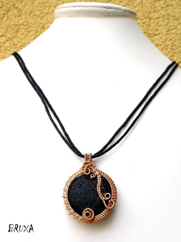 Wisior wire-wrapping z brązu, naszyjnik z lawą wulkaniczną, naszyjnik z brązu, lawa wulkaniczna w brązie, naszyjnik wire wrapping