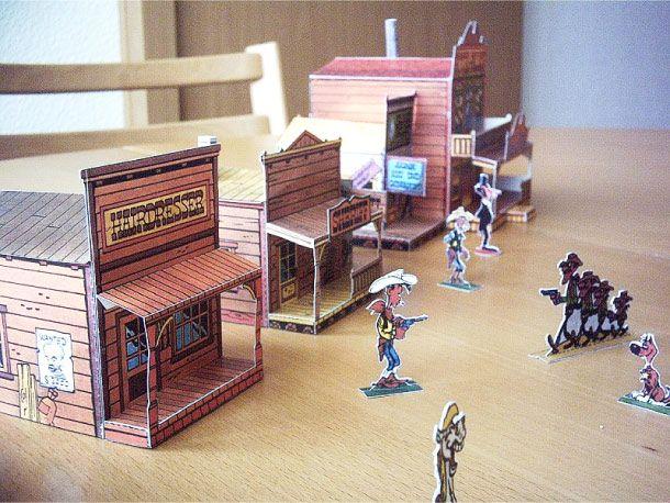 Décoration de salle Cowboy - Ville de western (Luky Luke) à imprimer & construire