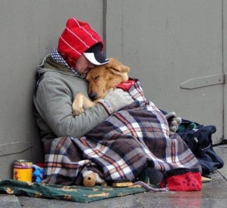 Homeless man with a dog--that is love