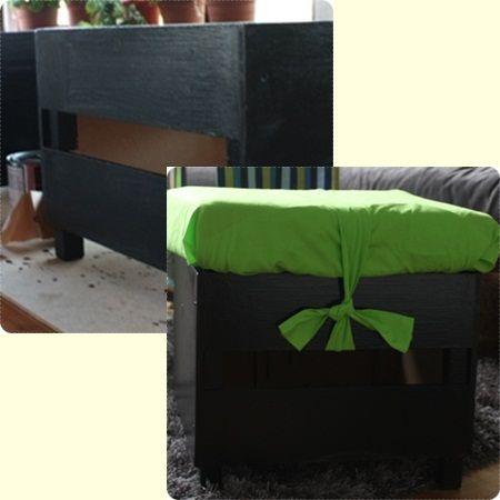 Gamla IKEA-pallar målades och dynorna kläddes med gröna kuddfodral