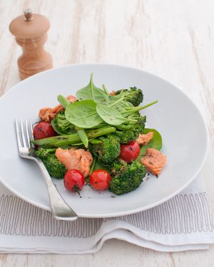 Chargrilled Broccolini & Tomato Salad with Salmon