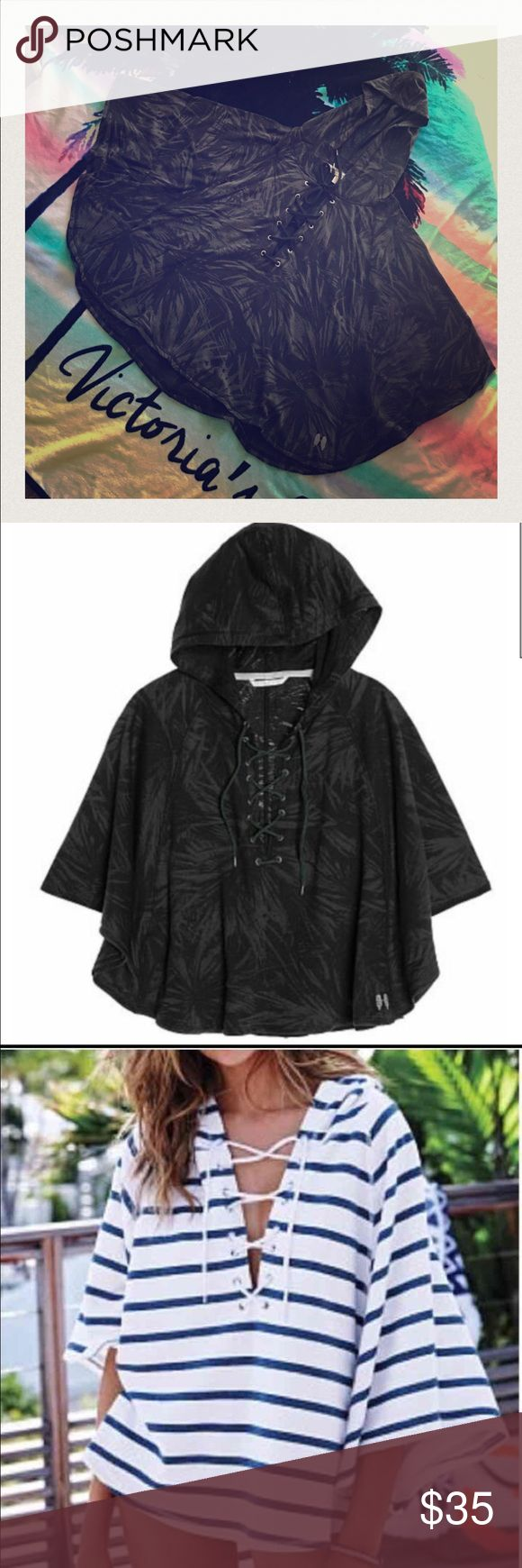 Today's Special! Victoria's Secret Ponchos New, never use and still on its original packaging!! Black color see through prints, soft, light and comfy cotton material hooded poncho with lace tie closure in the front, plus tiny angels wings detail on bottom. Perfect beach cover up. Original tag price was $69.95. Size S but fit M as well. Third photo shows a model wearing a ponchos with a different color. Color of the ponchos is Black Palm Burn Out. Victoria's Secret Sweaters Shrugs & Ponchos