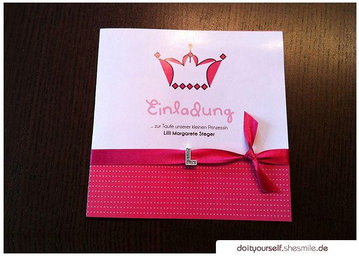 Ideengalerie: Selbstgebastelte Einladung Zur Taufe Unserer Tochter   Do It  Yourself By Shesmile.de. Einladungskarten Selber ...