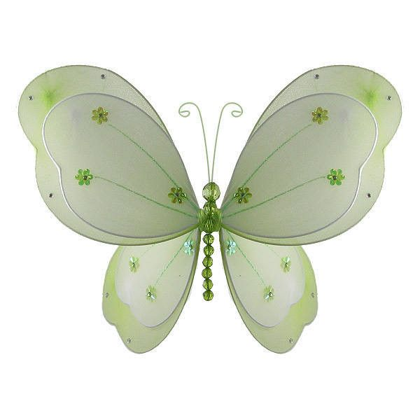 Nylon Butterflies | Hanging Butterfly | Green Butterfly Room Decoration found on Polyvore