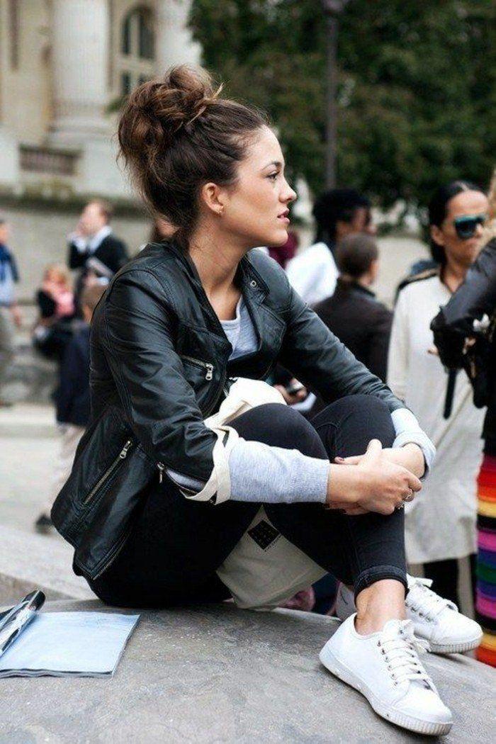 basket blanche et denim en cuir noir, tendances 2016