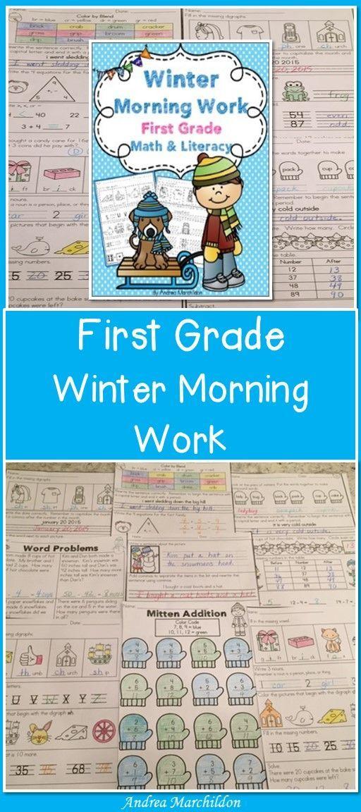 First Grade Winter Morning Work - Math & Literacy