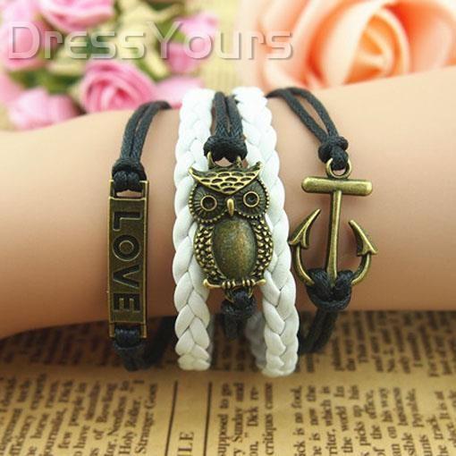 Fashionable Hide Rope Multilayer Boat Anchor&Owl Retro Bracelet: dressyours.com