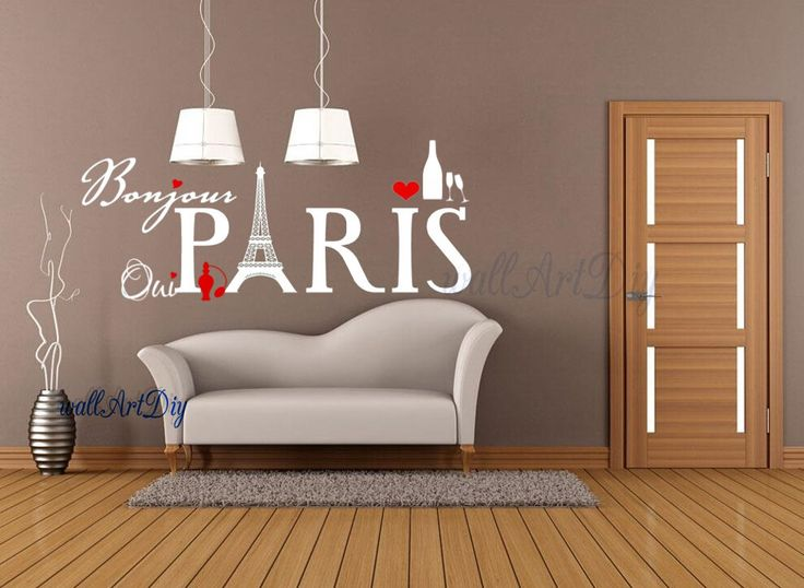 Paris wall decals Eiffel Tower wall stickers French style wall decor City wall decal Love   wall murals Bedroom wall stencils by WallArtDIY on Etsy https://www.etsy.com/listing/217788872/paris-wall-decals-eiffel-tower-wall