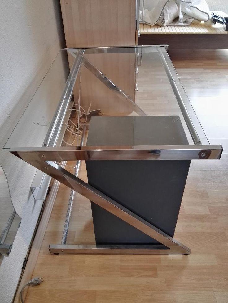 Ich verkaufe einen Glasschreibtisch mit passendem Schubladenschrank mit sechs Schubladen. Größe:...,Schreibtisch aus Glas mit Schubladenschrank 120 cm in Baden-Württemberg - Ilvesheim