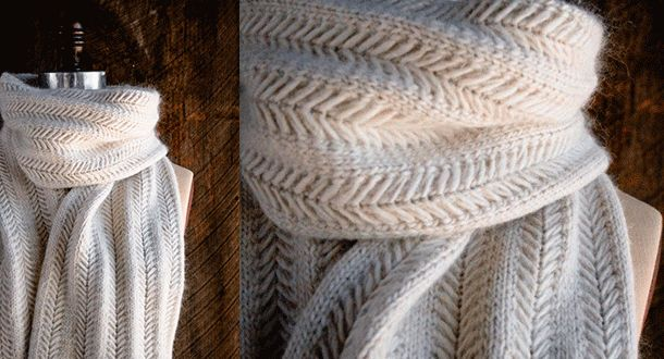 Описание вязания спицами женского шарфа интересным узором елочкой со спущенными петлями