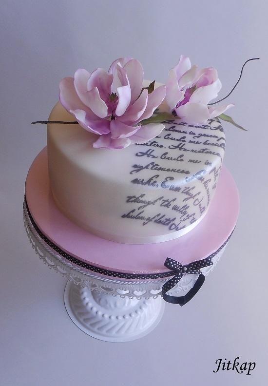 Birthday cake with magnolia by Jitkap