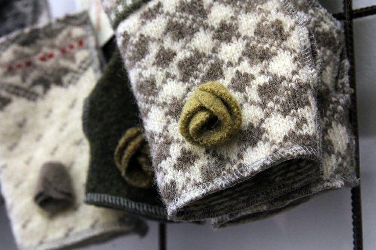 Woollen knitwear has been repurposed to wrist warmers. / Vanhat villapaidat ovat saaneet uuden elämän ranteenlämmikkeinä. http://willatar.fi/in-english * http://www.facebook.com/willatar
