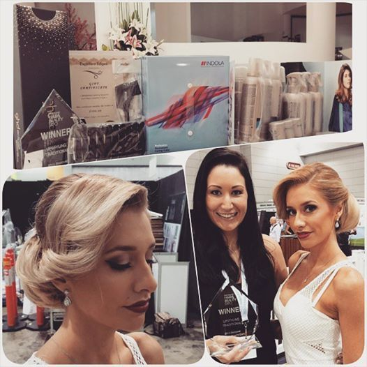 "Thank you to our glamorous model Rachel @aurumbride for being our model in the ""Traditional Up Styling"" competition. Kristy came away with FIRST PLACE!!   All bridal package enquiries www.aurumbride.com.au #missbliss #missblisshair #BHBE #brisbane #hairandbeautyexpo"
