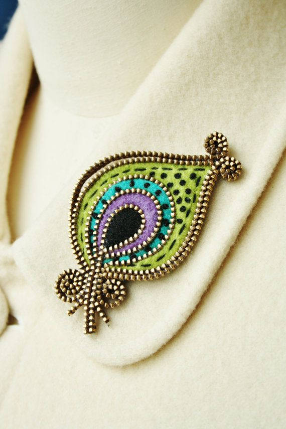 Felt  and zipper Peacock feather brooch by woollyfabulous on Etsy, $36.00