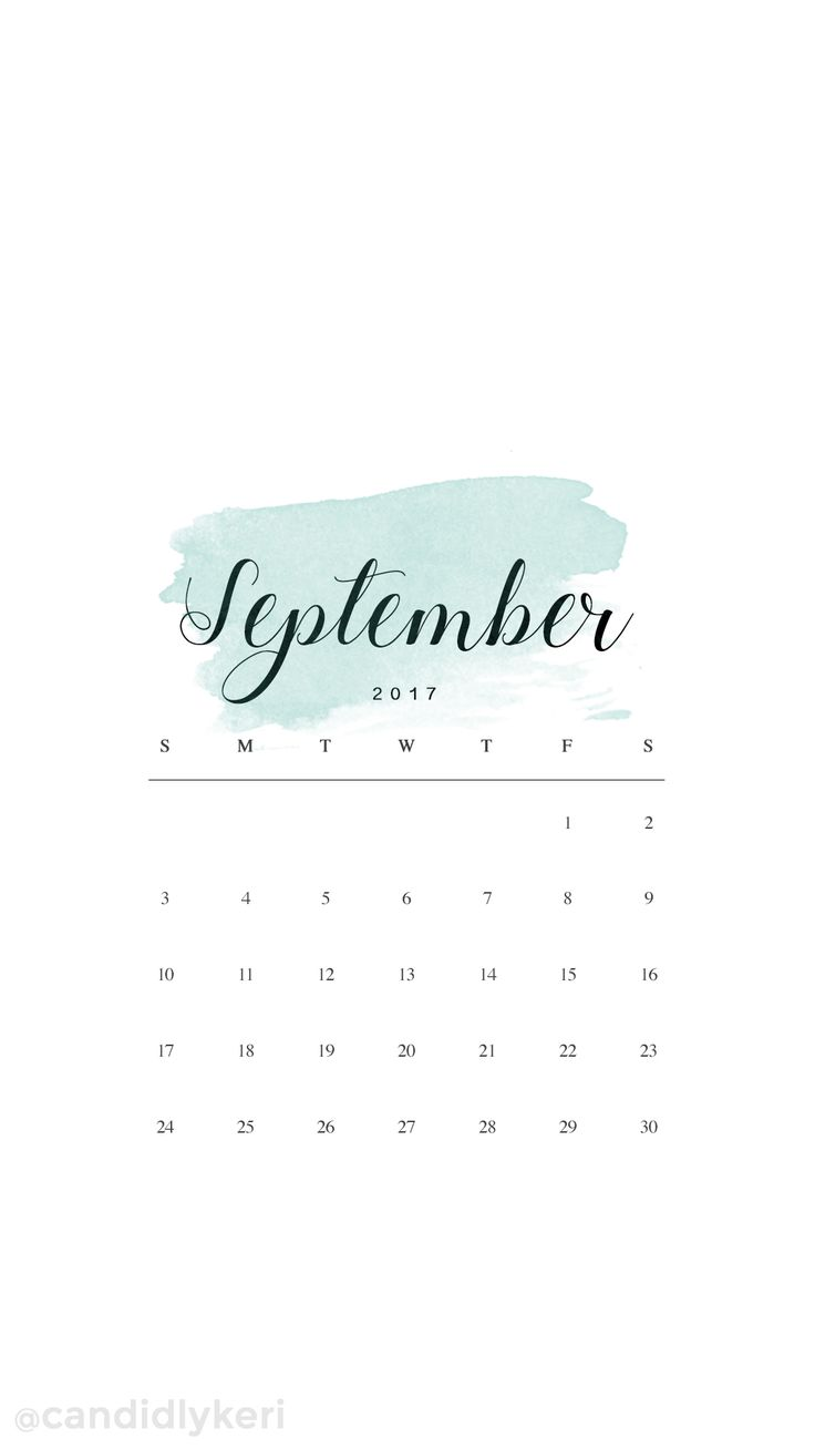 Sage green watercolor September calendar 2017 wallpaper you can download for free on the blog! For any device; mobile, desktop, iphone, android!