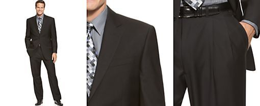 IZOD Two-Button Black Solid Suit