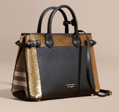 Burberry- Medium Banner in Sequins, Leather & House Check