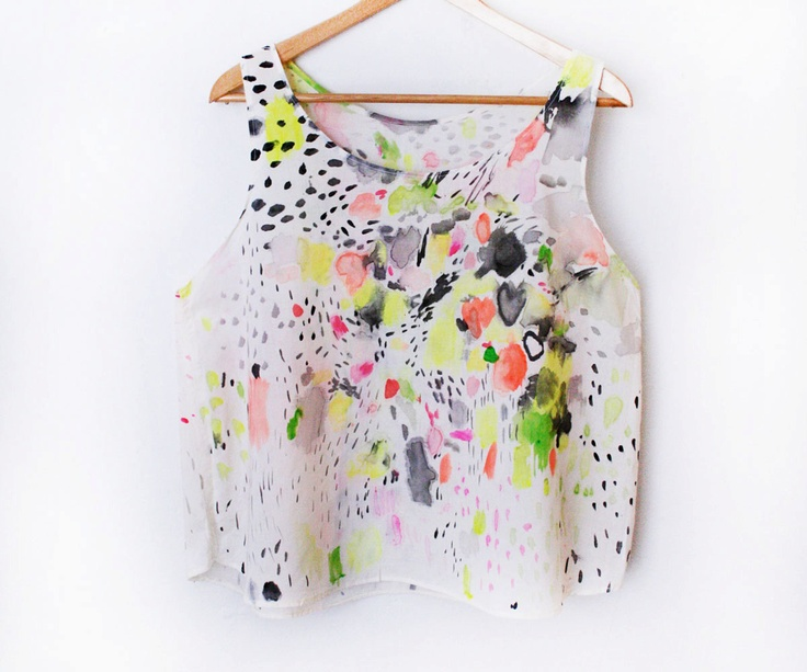 Abstract Hand Painted Top - One of a Kind. $120.00, via Etsy.