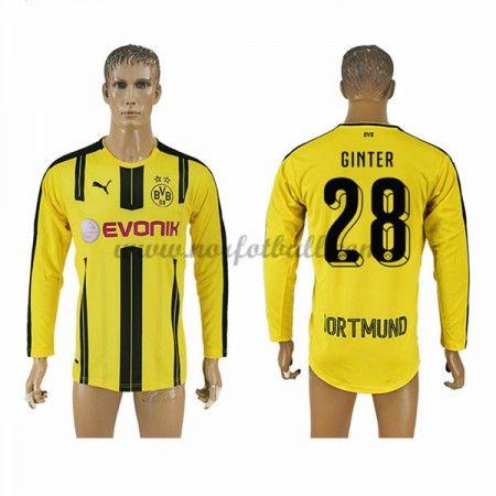 Billige Fotballdrakter BVB Borussia Dortmund 2016-17 Ginter 28 Hjemme Draktsett Langermet