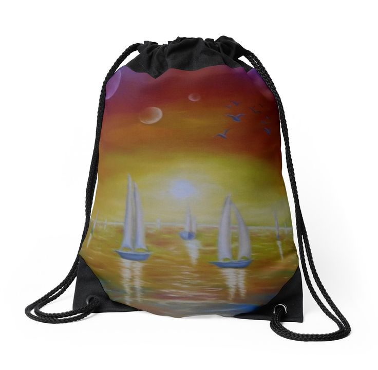 Drawstring Bag,  colorful,cool,beautiful,fancy,unique,trendy,artistic,awesome,fahionable,unusual,accessories,for sale,design,items,products,gifts,presents,ideas, nautical, sailboats, fantasy, sunset,redbubble