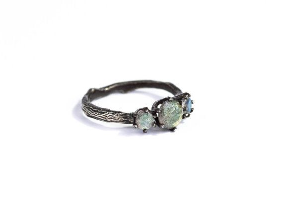 Labradorite twig engagement ring, Labradorite engagement ring, three stone ring
