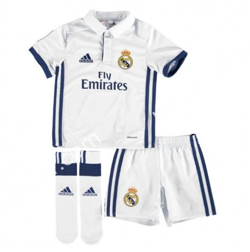 2016-17 Real Madrid Home White Kids/Youth Soccer Uniform With Socks