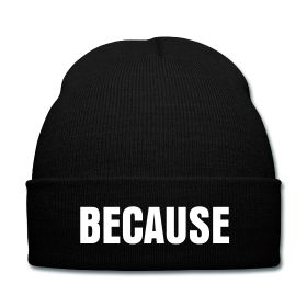Because Beanie - Available Here: http://sondersky.spreadshirt.com.au/because-A18464228