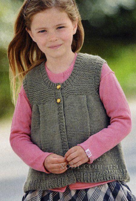 стильный жилет для девочки цвета хаки (2-10 лет)
