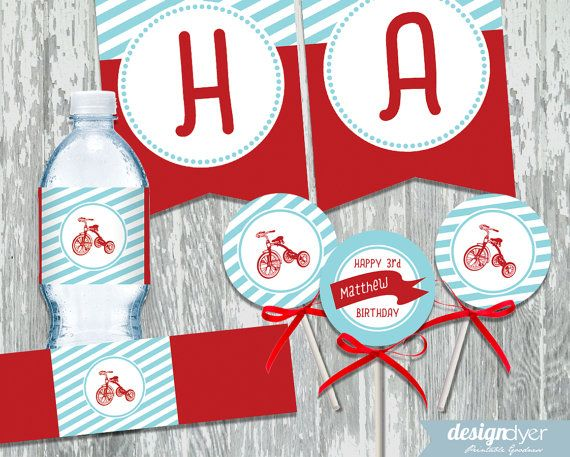 Roll on over, its a classic red tricycle party! This fun DIY classic red tricycle themed printable party package is personalized for a birthday or shower