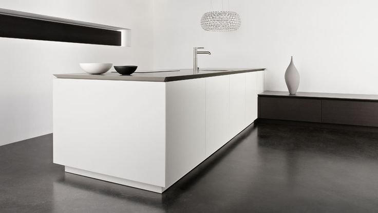 Tapered Counter Top with Matt Lacquer Cabinet Doors