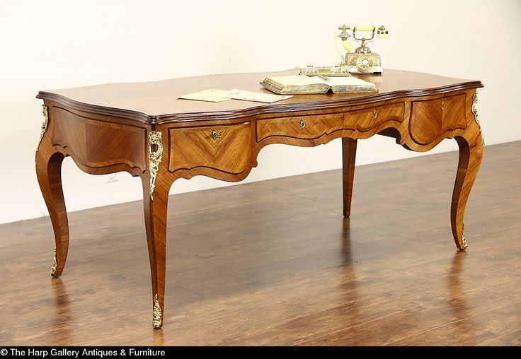 Italian Tulipwood 18th Century Style 1930's Vintage Library Desk - Harp Gallery Antique Furniture