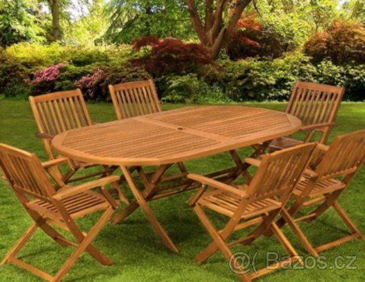 Nový Zahradní nábytek dřevěný , 7ks - 1