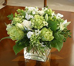 Green and white centerpiece...