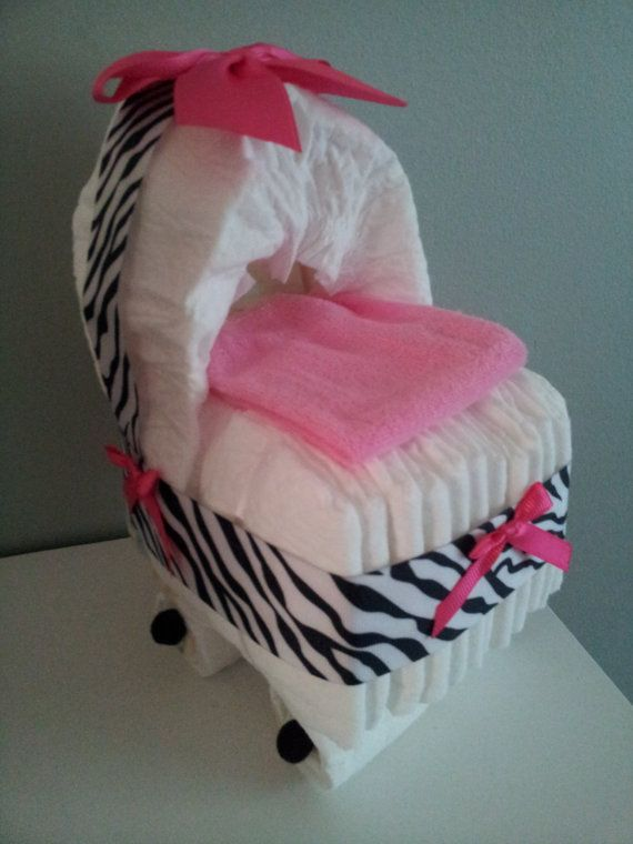 ZEBRA with Hot Pink diaper bassinet baby shower by diapercake4less, $13.00