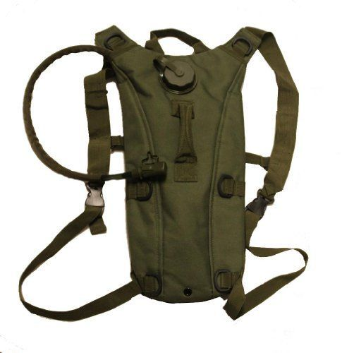 Global Sportsman Tactical Hydration Pack Backpack Carrier With 25 Liter  84 oz Water Drinking Bladder Reservoir Capacity System Includes Hosing And Hands Free Bite Valve Heavy Duty DRings Storage Pocket Adjustable Shoulder Strap  Emergency Carry Handle  Camping Hiking Outdoor Hunting Airsoft Bicycle Running Sports Military Army Patrol OD Olive Drab Green * You can find out more details at the link of the image.
