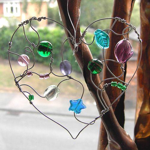 Green and Purple Heart - a beaded suncatcher by Sneddonia, via Flickr