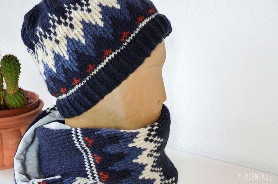Ein Mann, ein kalter Kopf, Schal und Mütze: Papa ist reif für die Insel ... und Ihr könnt beides nachstricken!