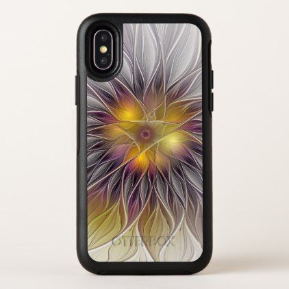 Luminous Colorful Flower Abstract Modern Fractal iPhone X Case - diy cyo customize create your own personalize