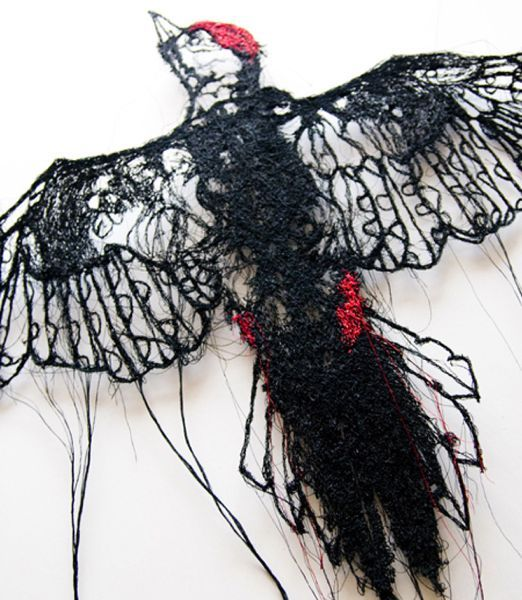 "Naseem Darbey - artist and visual story teller who creates unique ""hollow Drawings"" using a sewing machine."