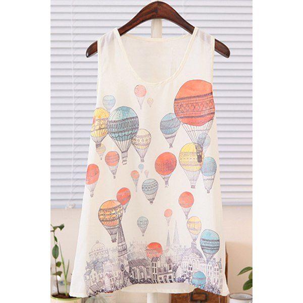 $6.94 Fashionable Scoop Collar Fire Balloon Print Chiffon Women's Tank Top