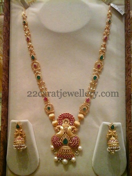Jewellery Designs: Peacock Uncut Ruby Haar 69gms