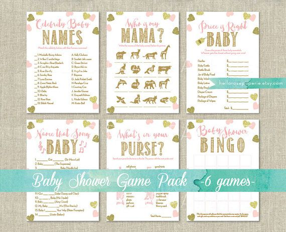 Pink and Gold Baby Shower Games Printable . Baby Name Race Game . Instant Download . Baby Shower Gir