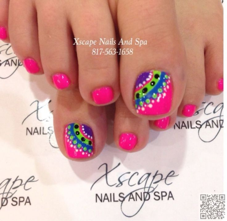 21. #Kaleidoscope of Colors - Fun #Summer Pedicure #Ideas to Make Your Feet Stand out ... → #Nails #Designs