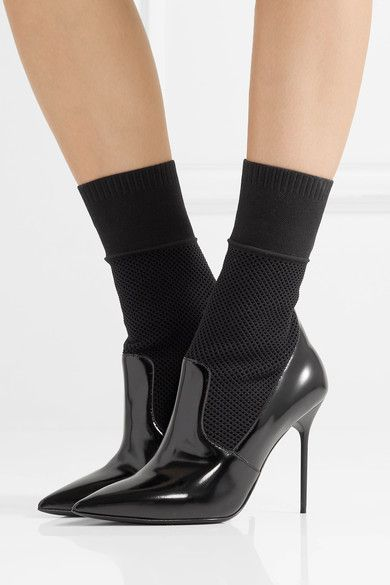 Burberry - District Glossed-leather And Stretch-knit Sock Boots - Black