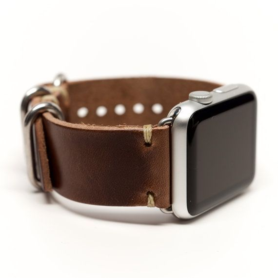 Handmade Leather 2 Piece Band for the Apple Watch by E3 Supply Co: Natural Horween Chromexcel. All of our E3 Supply Co. Bands for Apple Watch are hand