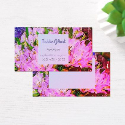 Purple  freesias -  digital painting business card - floral gifts flower flowers gift ideas