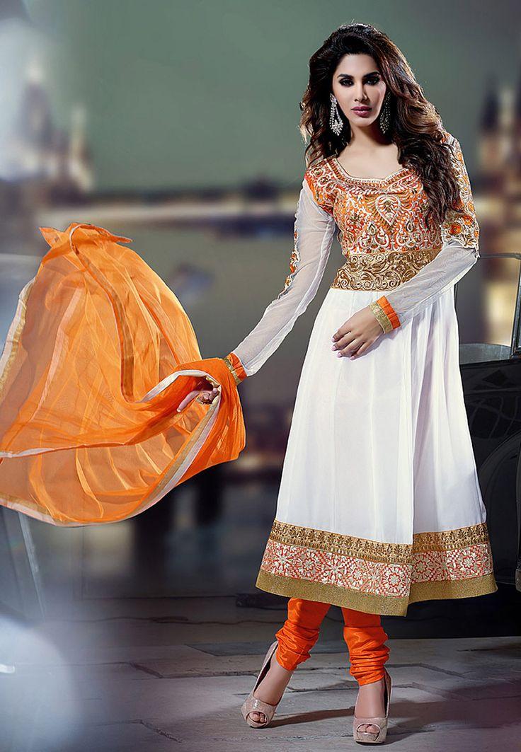 Off White Faux Georgette Anarkali Churidar kameez Online Shopping: KGA14