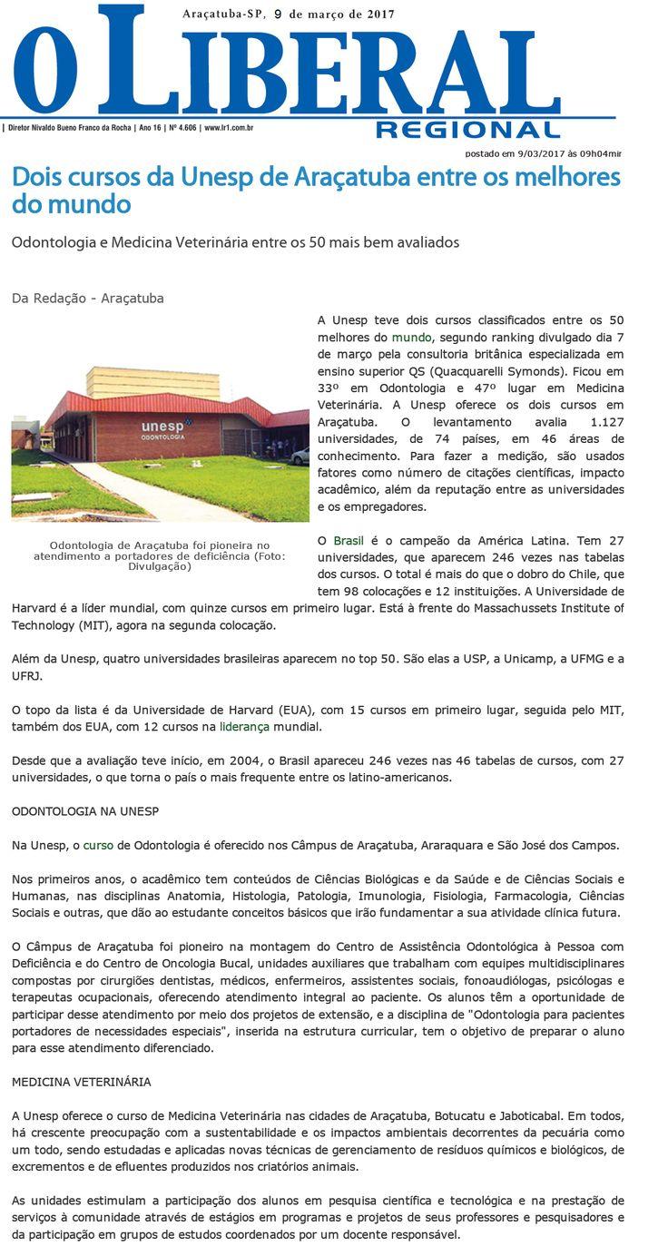 Dois cursos da Unesp de Araçatuba entre os melhores do mundo. Fonte: O Liberal Regional