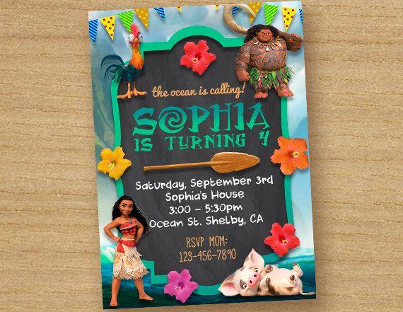 Moana Invitation Card, Moana Chalkboard Party, Disney Moana Invites, Princess Moana Custom Card, Personalized Moana Invitation Birthday