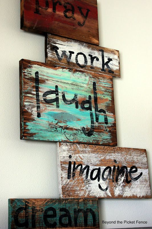 Signs from wood scraps.